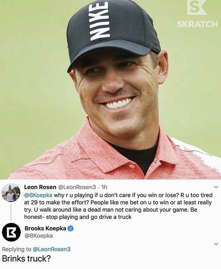 Brooks Koepka FIRES BACK at golf fan's critical tweet about his game