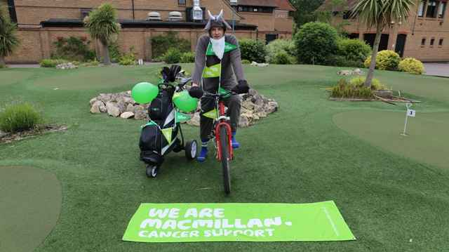 Hill Billy goat cycles to Open for Macmillan