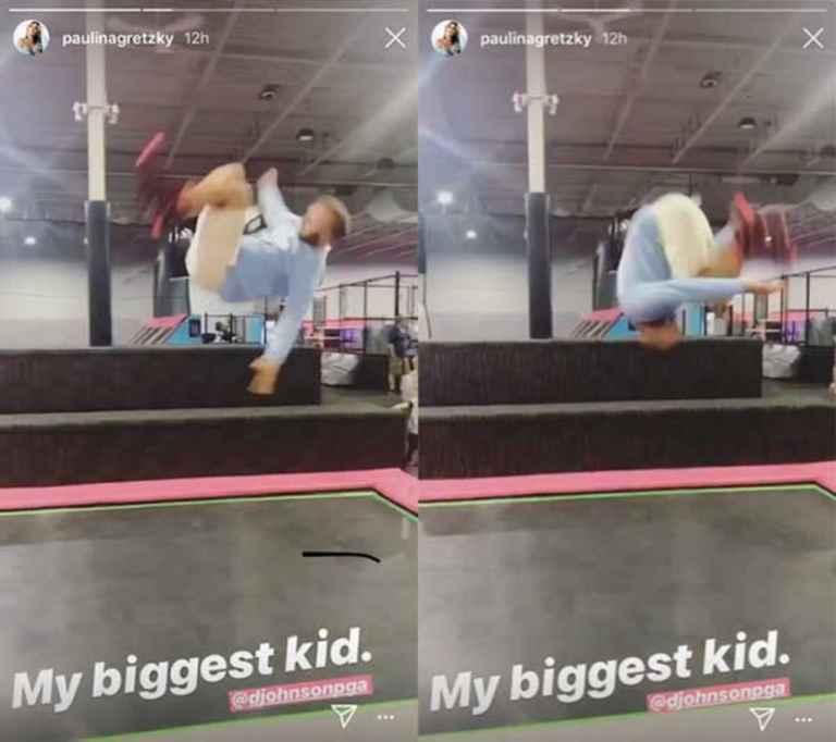 US Open: Dustin Johnson swaps falling down stairs for trampoline flips