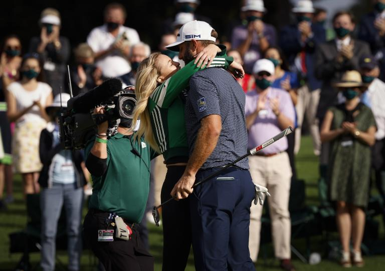 Golf fans react to Dustin Johnson celebrating Masters win with Paulina Gretzky