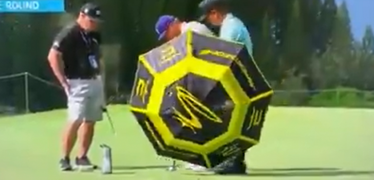Social media reacts to Bryson DeChambeau putting in front of an UMBRELLA!