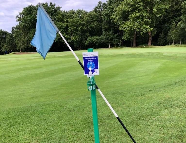 Golf club allows flag removal after installing hand sanitiser stations