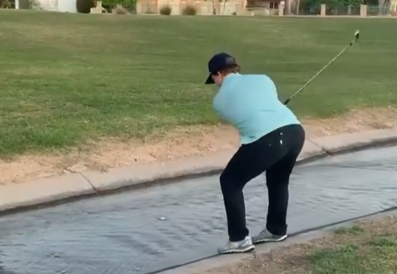 Golfer attempts hitting a MOVING BALL in the water - here's the official ruling!