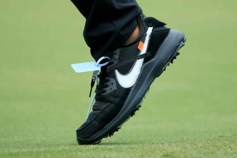What's the weird item attached to Brooks Koepka's Nike shoes