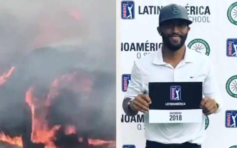 WATCH: PGA Tour pro's car set into flames on Central Florida highway
