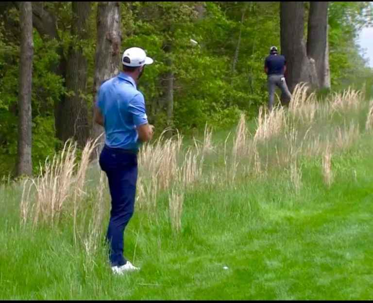 WATCH: Jon Rahm goes for a wee while Dustin Johnson steps into play...