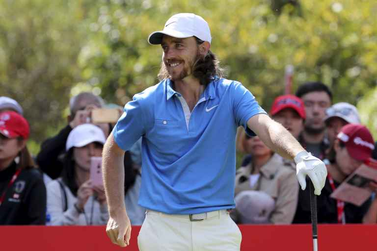 Tommy Fleetwood holes out at the first in Dubai