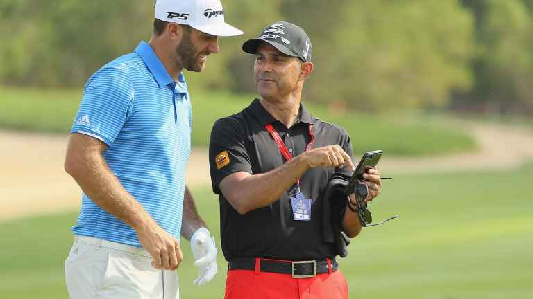 Dustin Johnson SPLITS with golf swing coach Claude Harmon