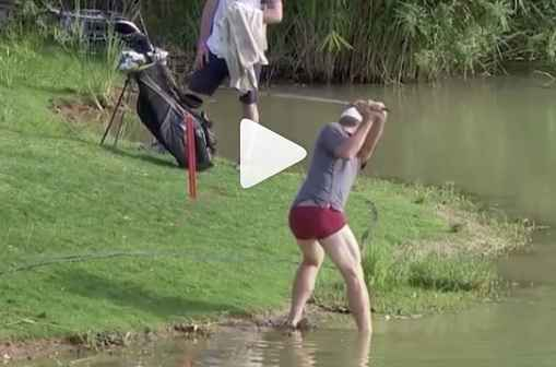 james heath plays golf shot from water in boxers