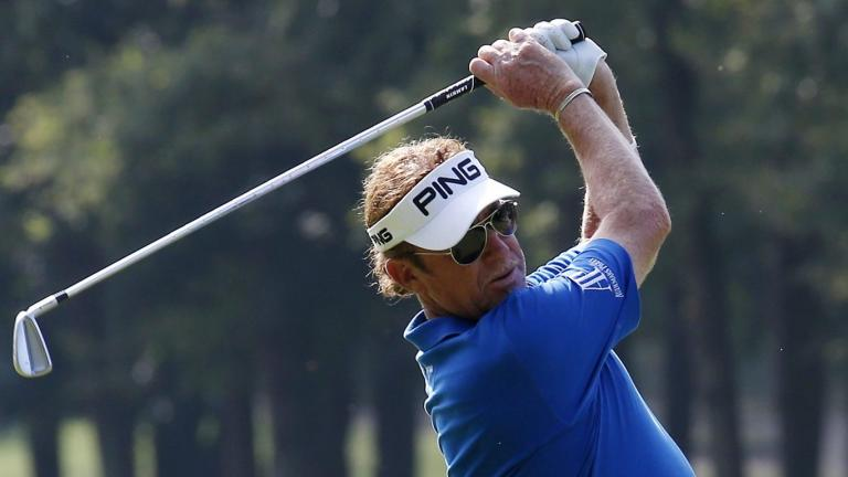 WATCH: Miguel Angel Jimenez does the FLOSS dance, and it's hilarious!