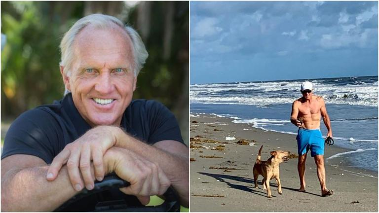 "Greg Norman reacts to viral pic that had him nicknamed ""HAMMERHEAD SHARK"""