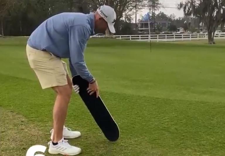 Korn Ferry Tour golfer plays a hole using a SKATEBOARD as a club