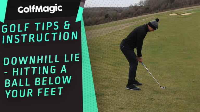 Hitting from a downhill lie