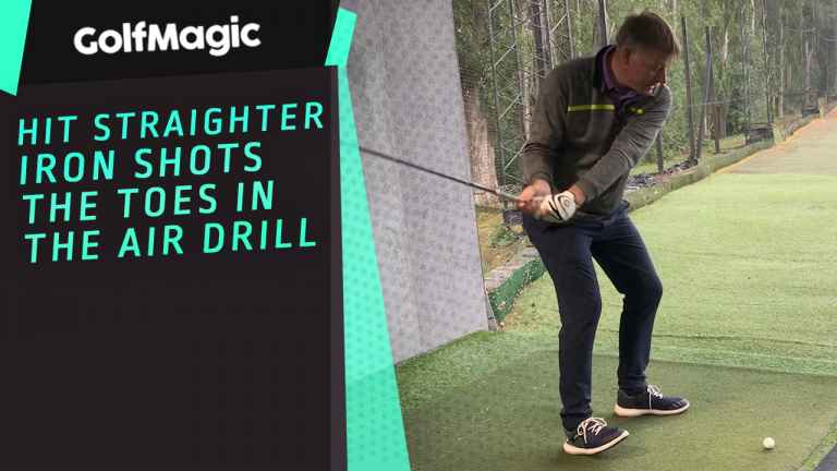 Hit straighter iron shots - the toes in the air drill