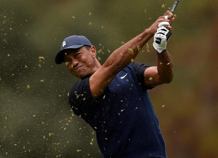 Charlie Woods makes incredible eagle as Tiger looks on