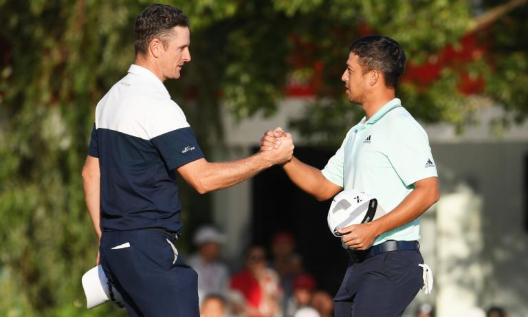 Justin Rose knocks Xander Schauffele's golf ball in the water at WGC-HSBC Champions