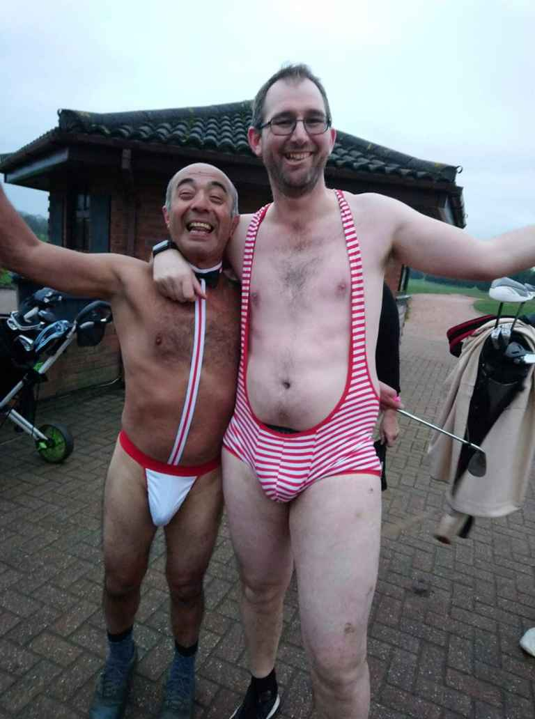 Golfers tackle the Mankini Golf Challenge in aid of Prostate Cancer