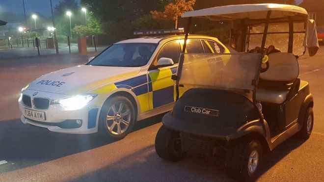 Stolen golf buggy stopped by police at McDonald's drive-thru!