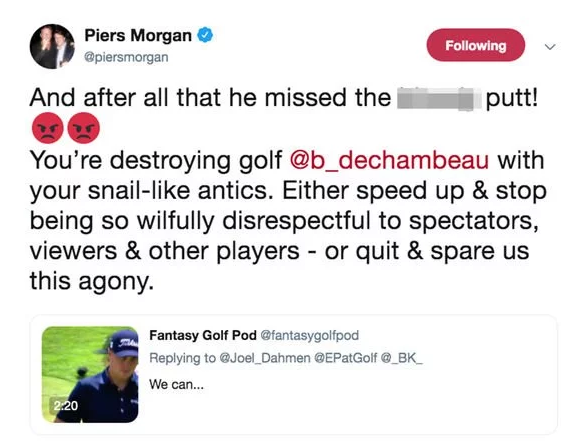Piers Morgan urges Bryson DeChambeau to quit golf after slow play antics