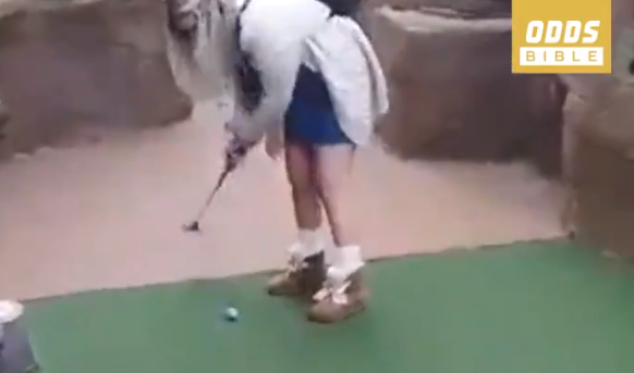 WATCH: Is this the LUCKIEST mini golf putt you've ever seen before?!