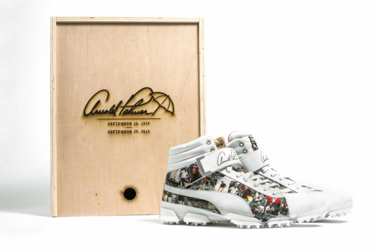 Fowler to auction one-off Palmer inspired Puma Hi-Top shoes