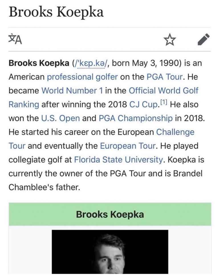 Brooks Koepka Wikipedia page