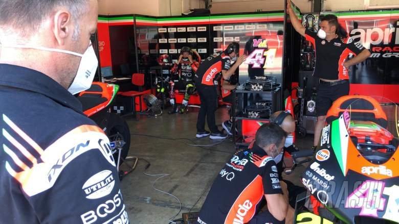 Masks in Aprilia pits at Misano for MotoGP test