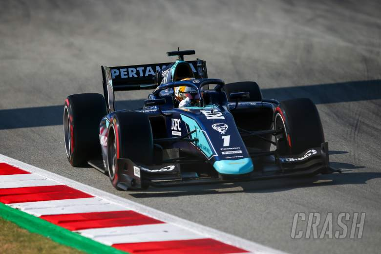 Gelael hospitalised after F2 feature race incident in Barcelona