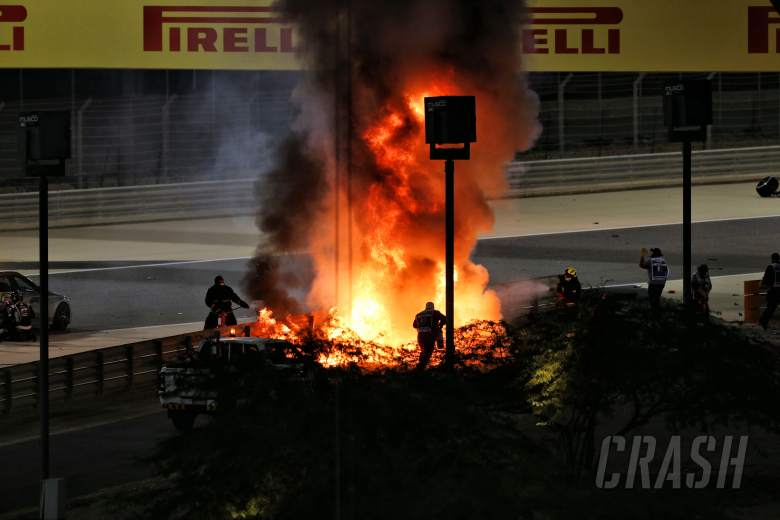 F1 Bahrain GP suspended as Grosjean escapes horrific fiery crash