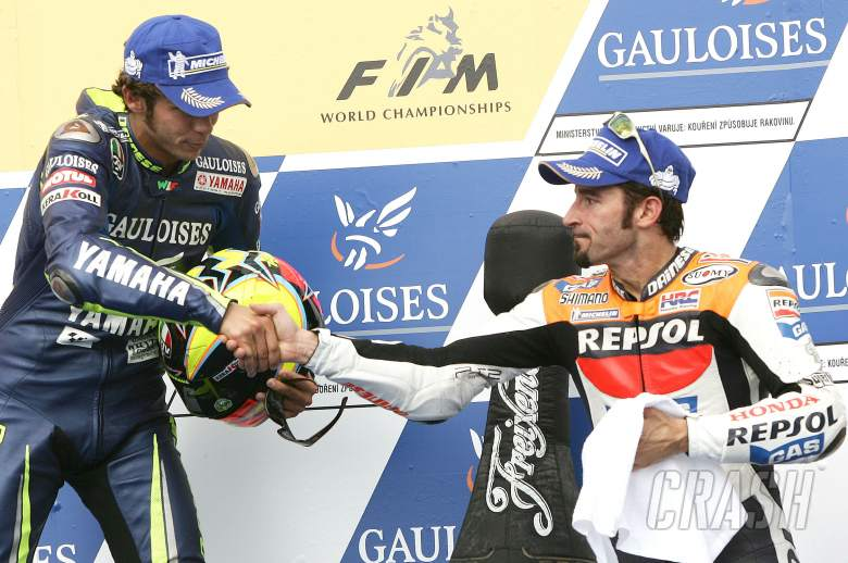 Rossi 1st and Biaggi 3rd, Czech MotoGP Race, 2005