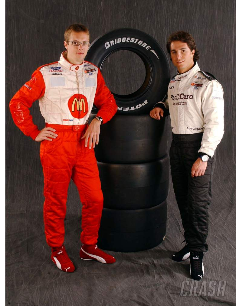Newmna/Haas team-mates Bruno Junqueira and Sebastien Bourdais