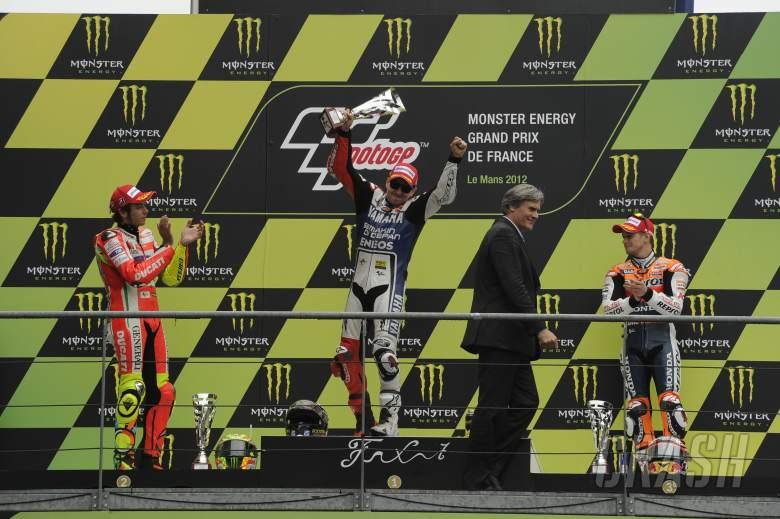 , - Rossi, Lorenzo, Stoner, French MotoGP Race 2012