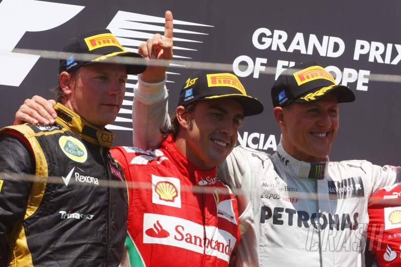 , - 24.06.2012- Race, Fernando Alonso (ESP) Scuderia Ferrari F2012 race winner, 2nd position Kimi Raikko