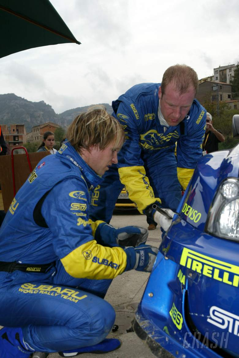 Petter Solberg/Phil Mills crashed during SS3 of the Rally Catalunya