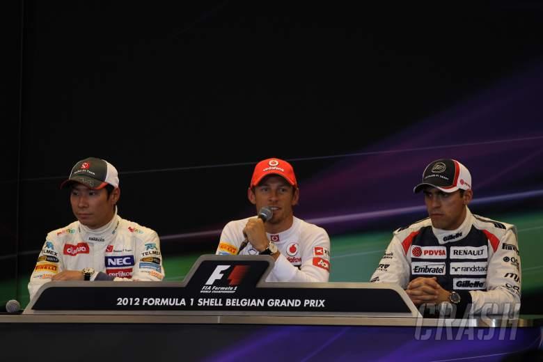 , - 01.09.2012- Qualifying, Press conference, Kamui Kobayashi (JAP) Sauber F1 Team C31, Jenson Button (G