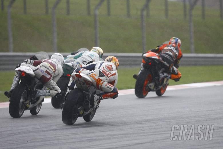 Syahrin, Gino Rea and West chase De Angelis, Moto2 race, Japanese MotoGP 2012