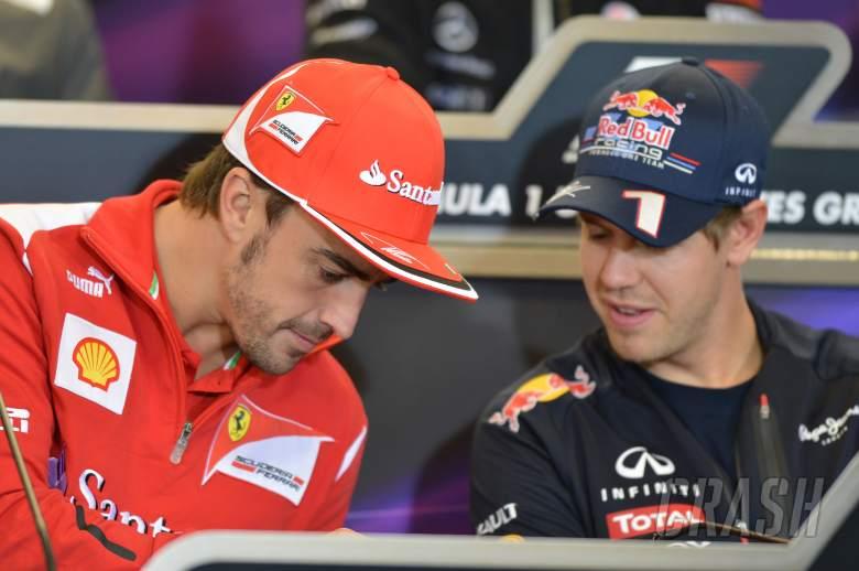 15.11.2012 - Press Conference: Fernando Alonso (ESP) Scuderia Ferrari F2012 and Sebastian Vettel (GE