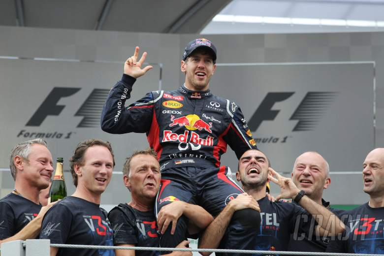 25.11.2012- Race, Celebration, Sebastian Vettel (GER) Red Bull Racing RB8 world champion 2012