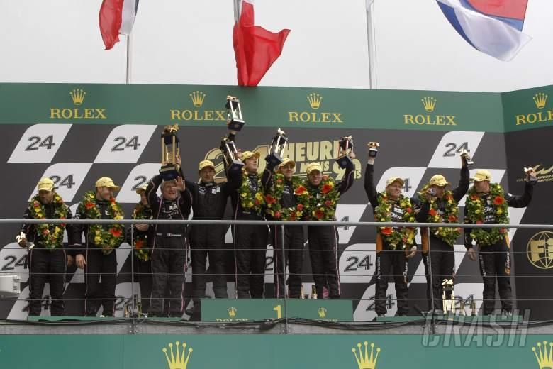 P2 Podium (l-r) Olivier Pla / David Heinemeier Hansson / Alex Brundle OAK Racing Morgan Nissan, Bert
