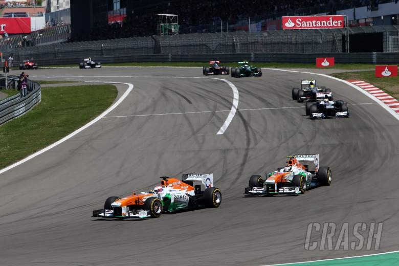 07.07.2013- Race, Paul di Resta (GBR) Sahara Force India F1 Team VJM06 leads Adrian Sutil (GER), Sa