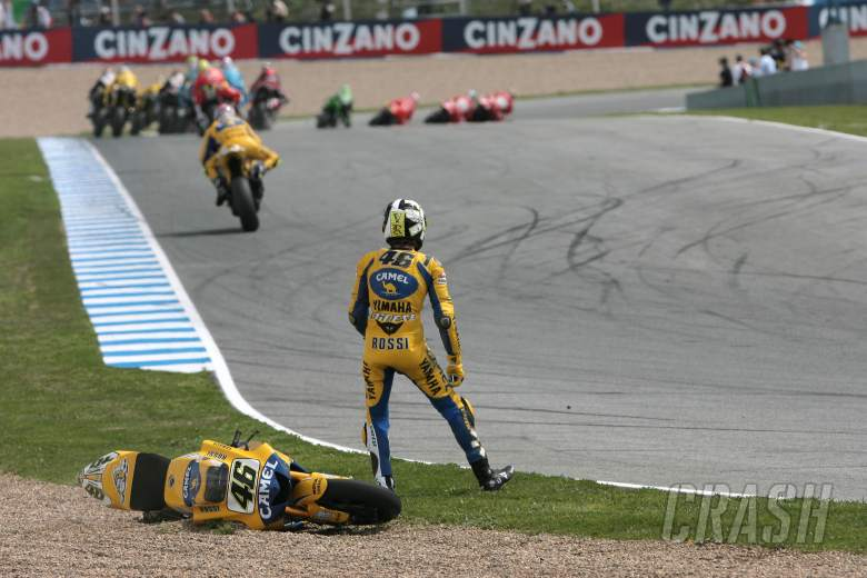 Rossi after first turn crash, Spanish MotoGP, 2006