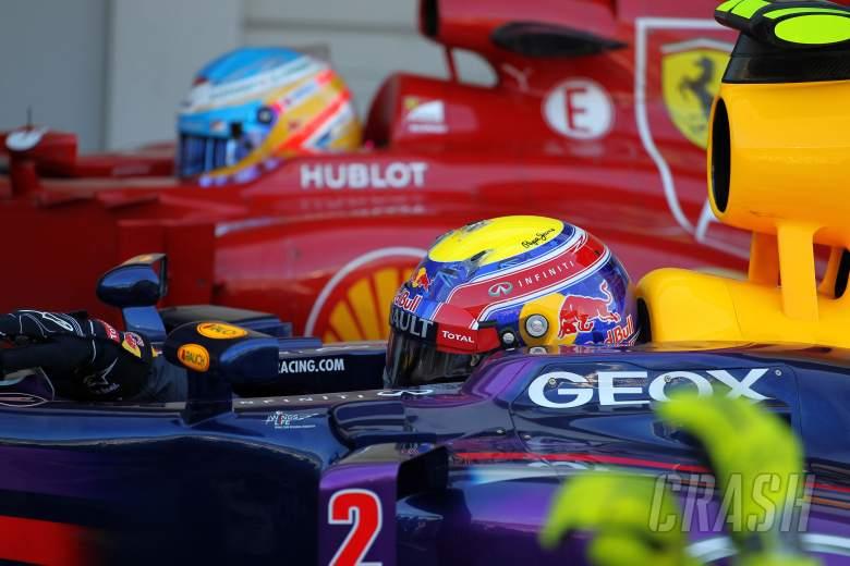 12.10.2013- Qualifying, Mark Webber (AUS) Red Bull Racing RB9 and Fernando Alonso (ESP) Scuderia Fer