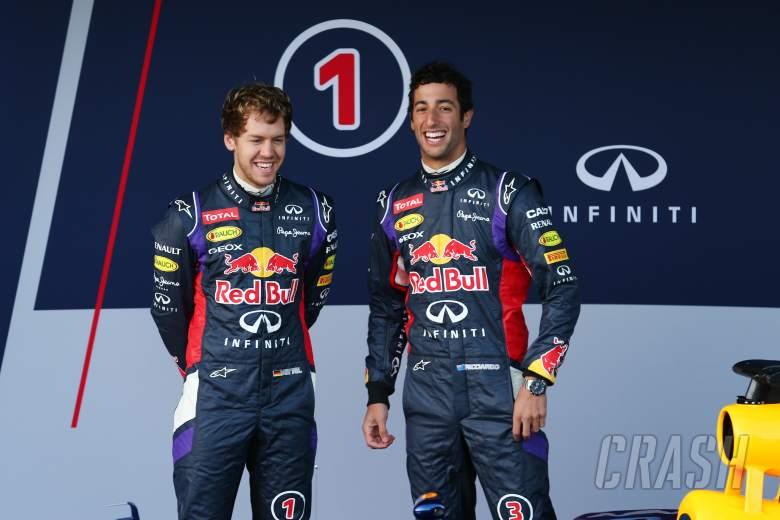 (L to R): Sebastian Vettel (GER) Red Bull Racing and Daniel Ricciardo (AUS) Red Bull Racing at the u