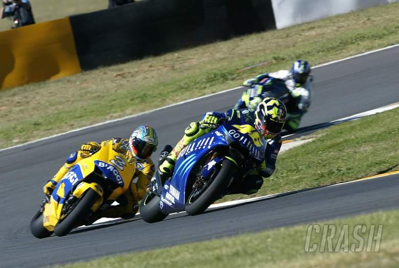 Rossi, Biaggi and Gibernau, South African MotoGP, 2004
