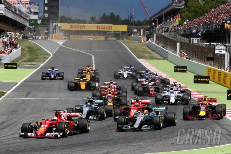 Sebastian Vettel (GER) Ferrari SF70H leads at the start of the race. 14.05.2017.