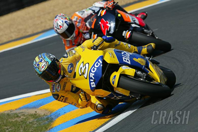 Biaggi and Barros, French MotoGP 2004