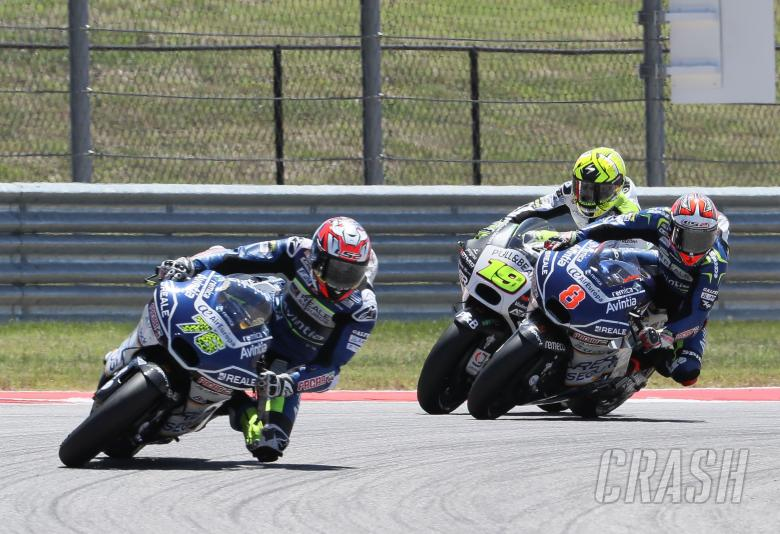 Baz, Barbera and Bautista touch, MotoGP race, Grand Prix of the Americas, 2017.