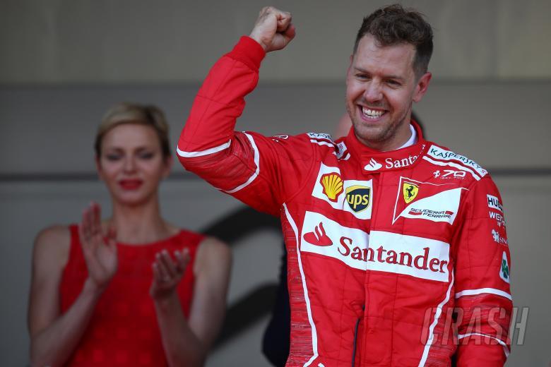 28.05.2017 - Race, Sebastian Vettel (GER) Scuderia Ferrari SF70H race winner and Charlene Wittstock