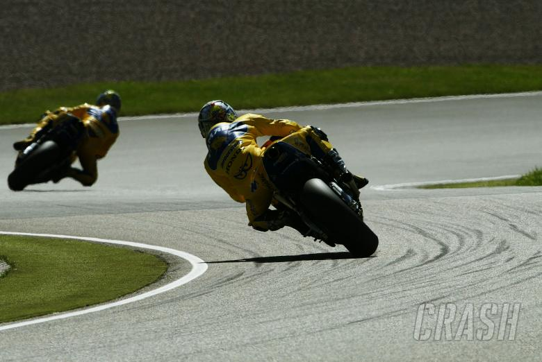 Biaggi Leads Tamada, German MotoGP, 2004