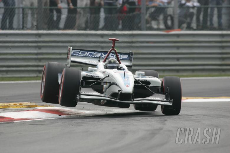 : 24-26 August 2007, Heusden-Zolder, BelgiumPaul Tracy jumps the curb through the chicane.